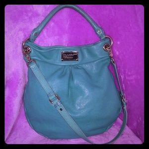 Marc Jacobs Teal Leather  Q Hillier Hobo Purse/Bag